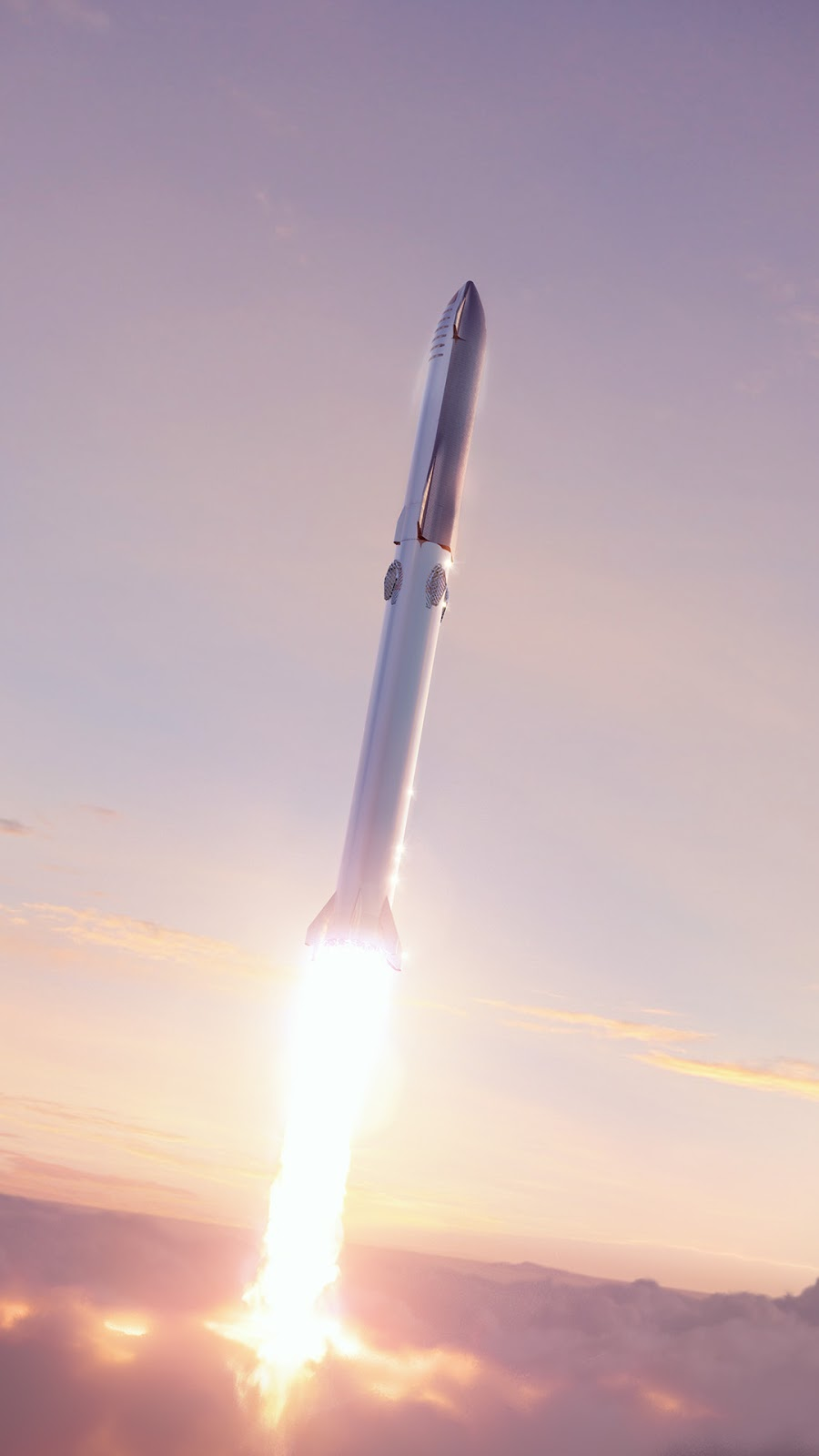 9:16 mobile HD wallpaper of SpaceX's new Starship Super Heavy launch