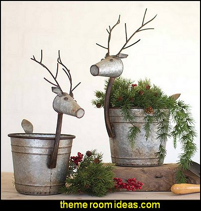 Metal Deer Planters modern farmhouse christmas decorations rustic christmas decor