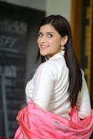 Mannara Chopra in Silky White Salwar Suit with Pink Chunni Latest Exclusive Pics March 2017 ~  027.JPG