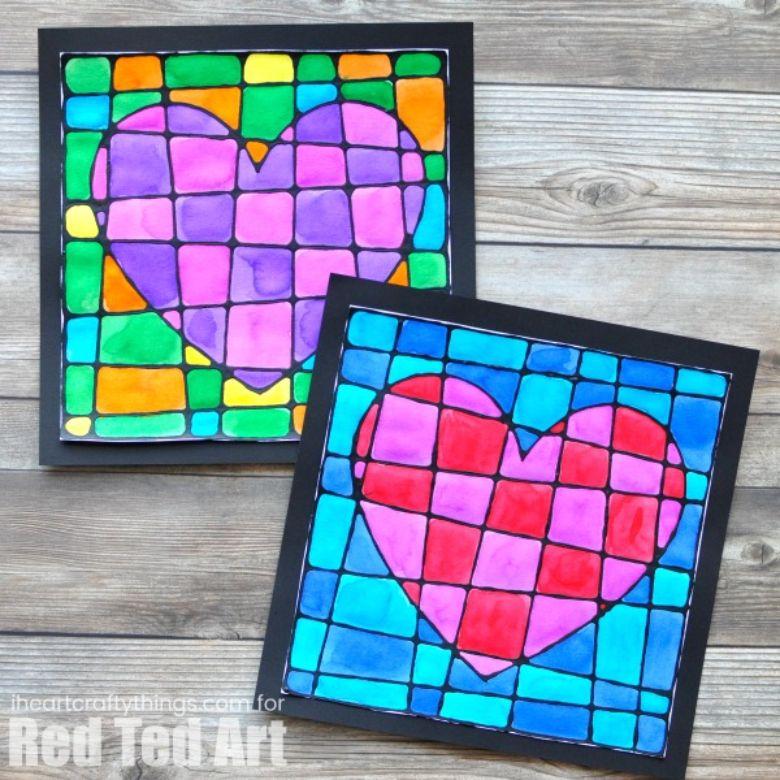 black glue heart art for kids