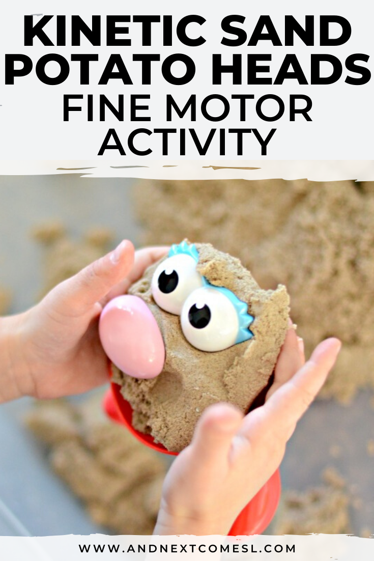 This kinetic sand potato head activity for kids is brilliant! It's a great way for toddlers and preschool kids to work on fine motor skills and get creative.