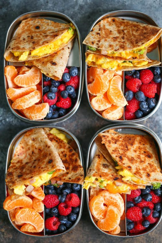 Meal prep ahead of time so you can have breakfast done right every morning! This breakfast quesadillas recipe has less than 300 calories per serving!