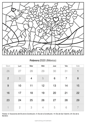 Calendario febrero 2020 del amor de méxico