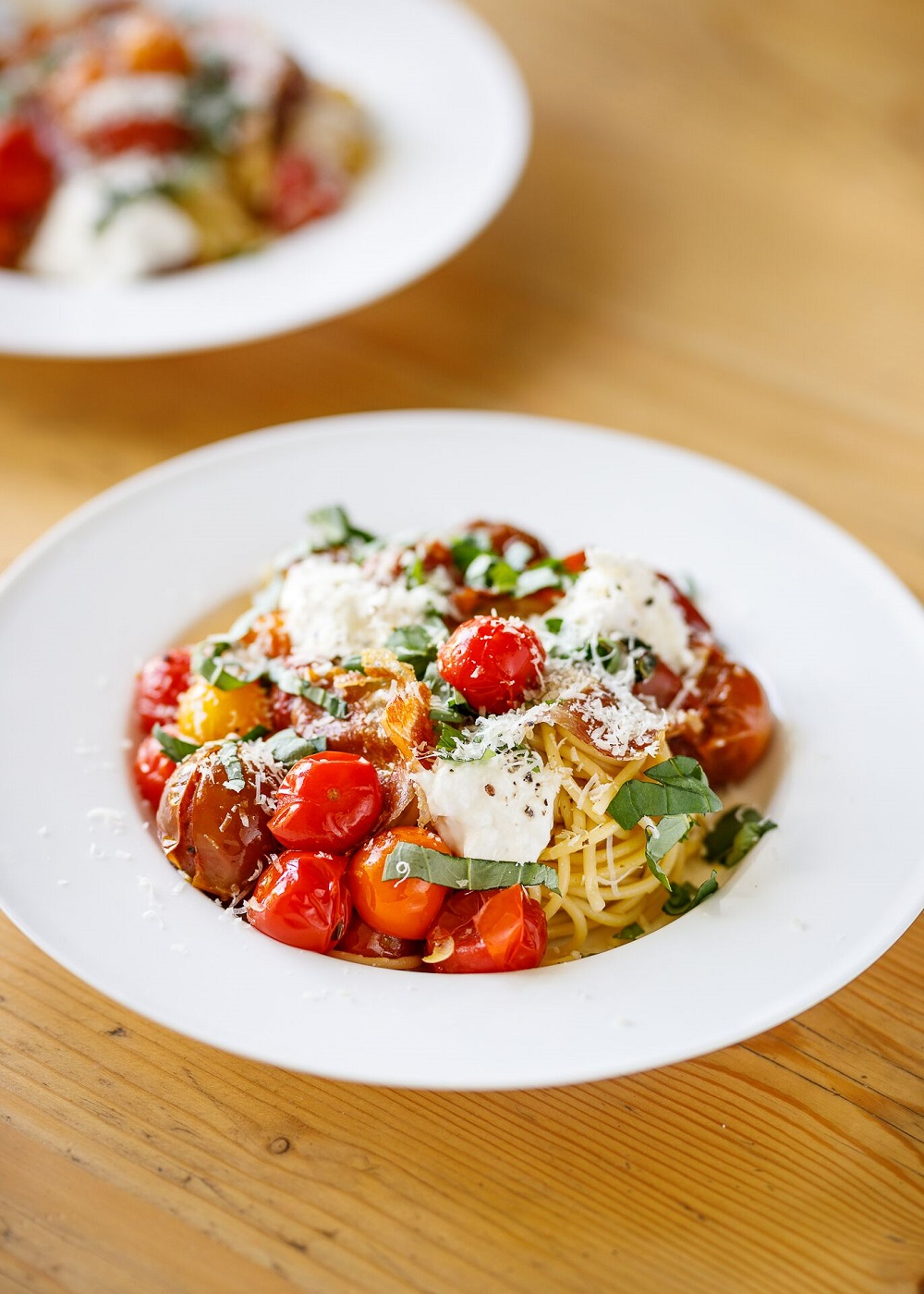 Isle Of Wight Roasted Tomato, Prosciutto And Burrata Spaghetti