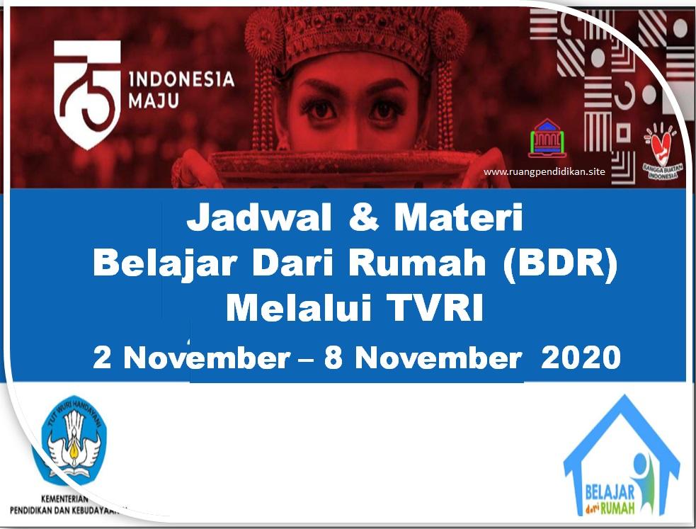 Jadwal BDR Di TVRI Tanggal 2, 3, 4, 5, 6 November
