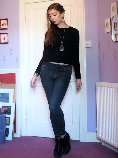 Back to Black | outfit of black shrug jacket & short top, grey skinny jeans & black heeled ankle boots
