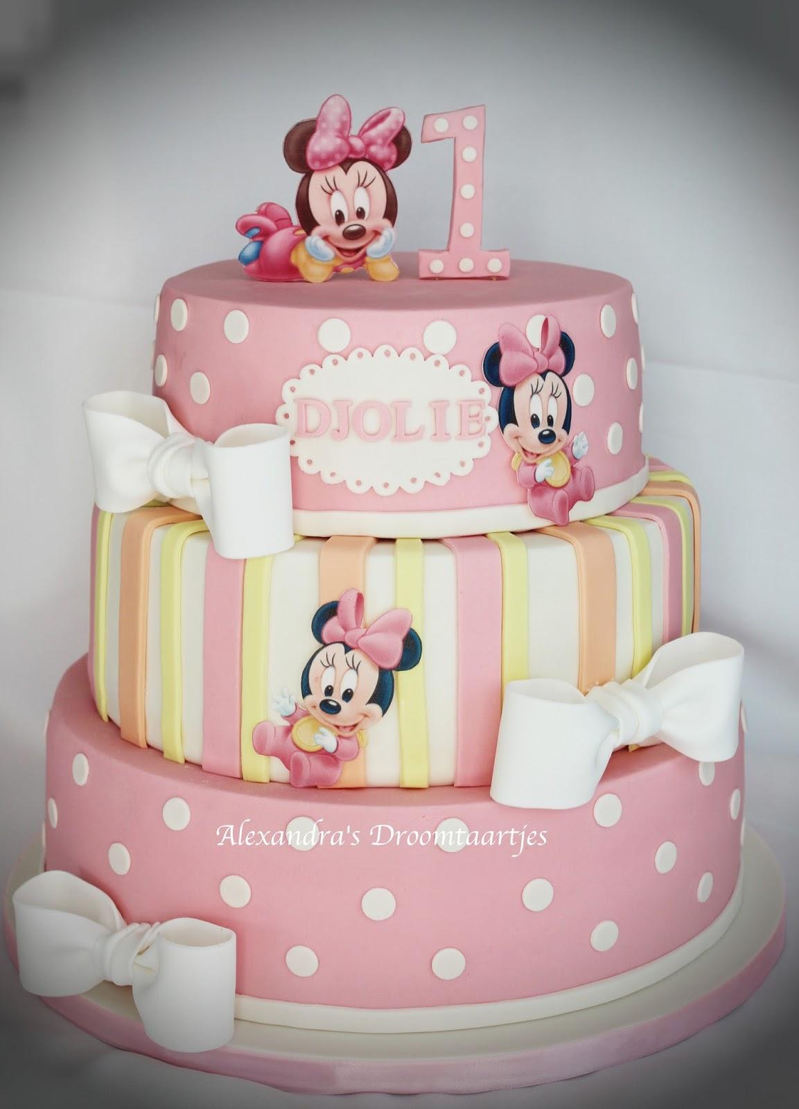Beroemd Minnie Mouse taart meisje 1e verjaardag   Alexandra's droomtaartjes @EC27
