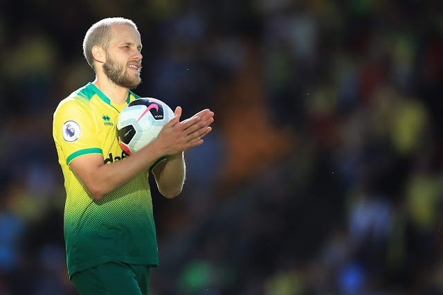 Teemu Pukki with the match ball after scoring hattrick against Newcastle