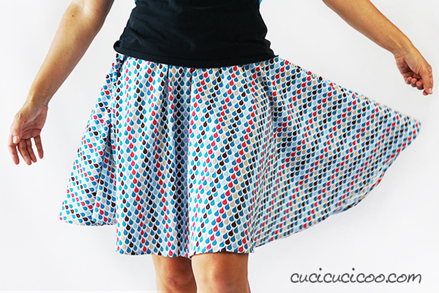 Learn how to make a circle skirt using directional fabric. Free template and tutorial by Cucicucicoo