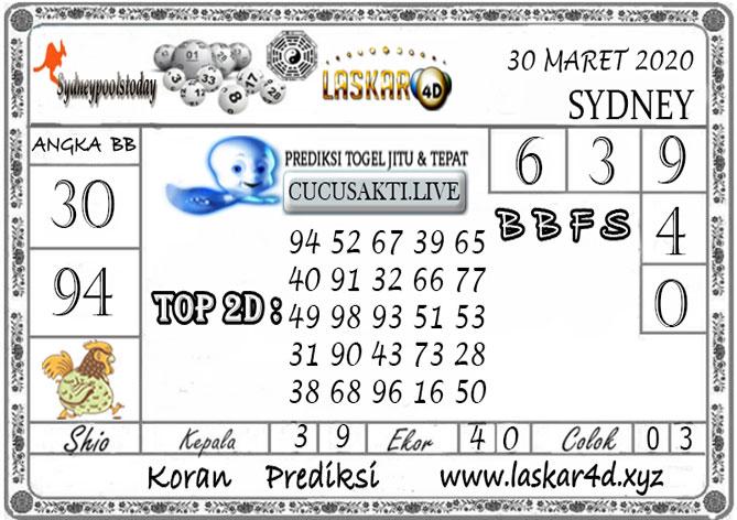 Prediksi Togel SYDNEY LASKAR4D 30 MARET 2020