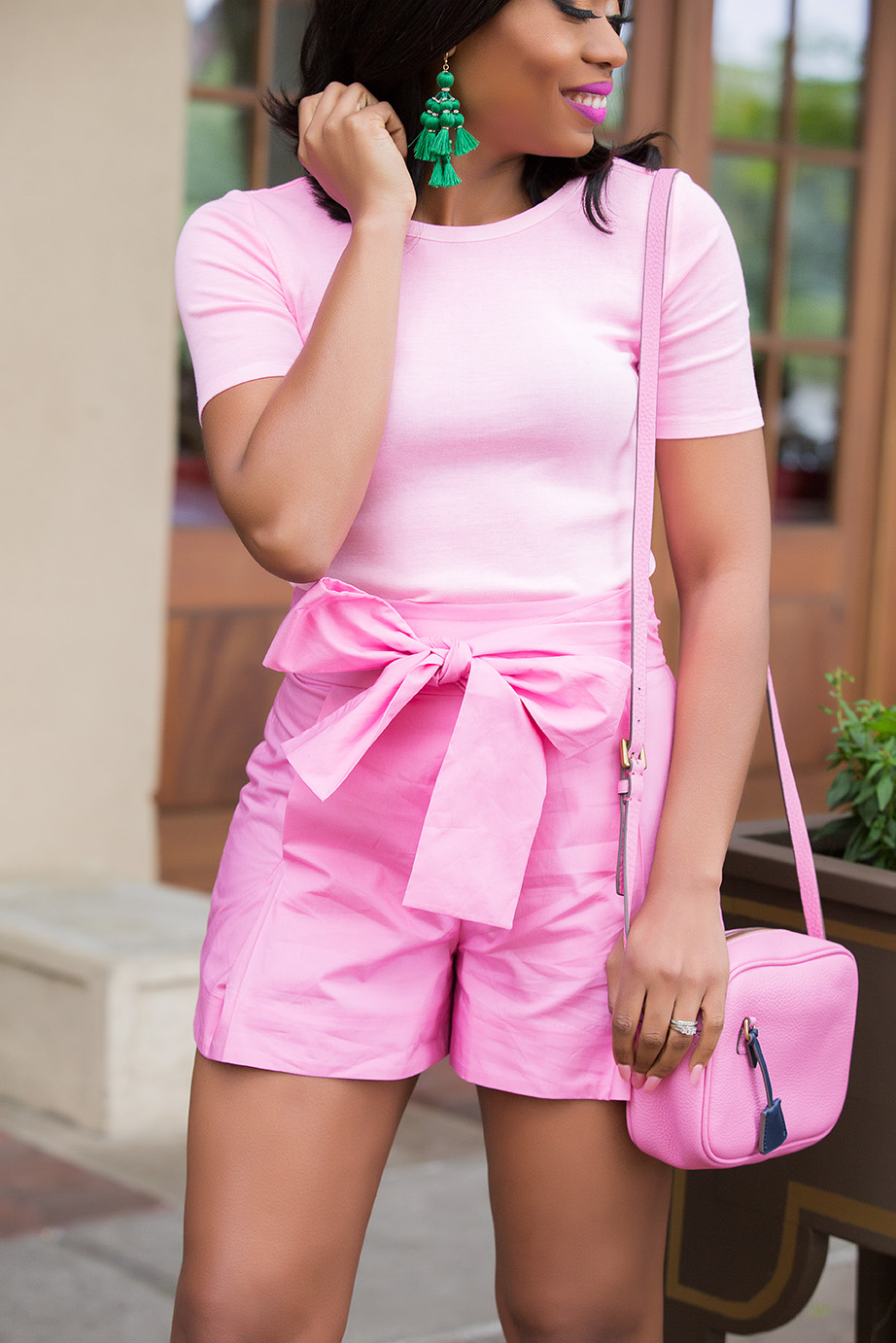 pink on pink mix, jcrew tie-waist shorts, www.jadore-fashion.com