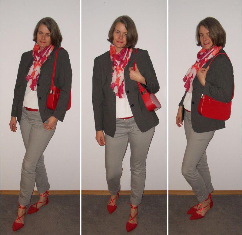 rote Lace-ups via Amazon zu Grau, Weiß und Rot kombiniert.