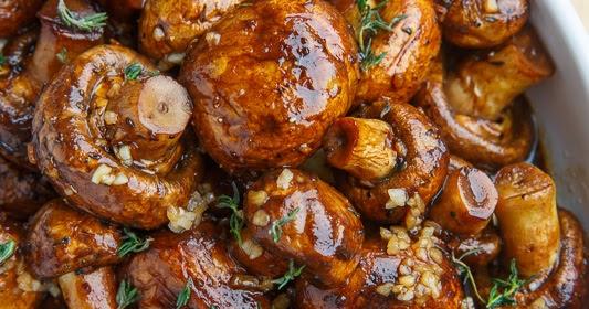 Food Recipes : Balsamic Soy Roasted Garlic Mushrooms