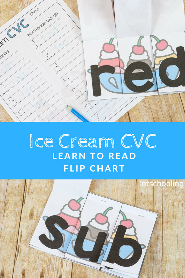 FREE Ice Cream themed CVC word flip chart and recording sheet for kindergarten kids to practice reading, sounding out words and writing. Kids can make real words and nonsense words with ice cream!