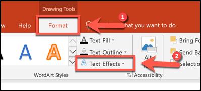انقر فوق تنسيق> تأثيرات النص لبدء تقويس النص في PowerPoint