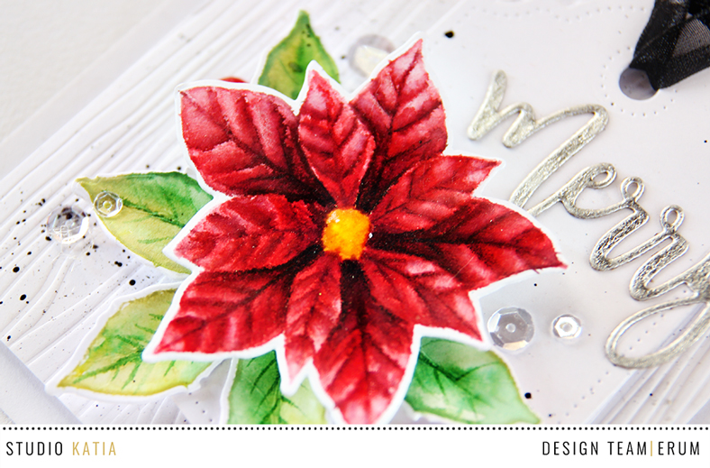 Studio Katia Merry Poinsettia no line watercolouring using distress inks by Erum Tasneem | @pr0digy0