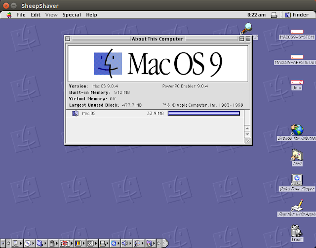 Supratim Sanyal's Blog: Clean initial installation of Mac OS 9 on Power Macintosh emulated by SheepShaver for Ubuntu Linux