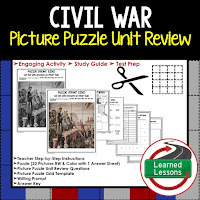 Civil War Picture Puzzle,  TEST PREP, UNIT REVIEWS, TEST REVIEWS, and STUDY GUIDES