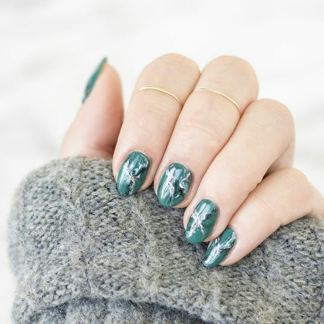 Forest marble nail arts