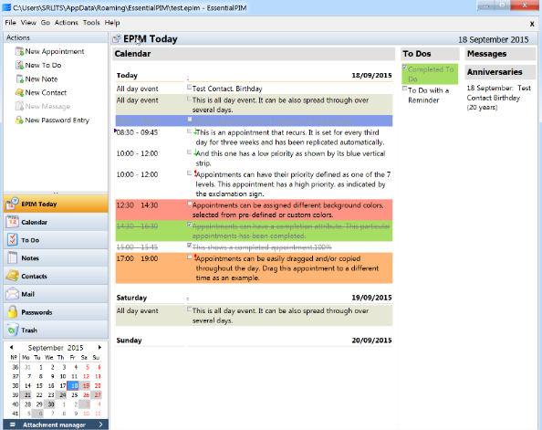 تحميل برنامج كتابة الملاحظات محمية بكلمة مرور EssentialPIM