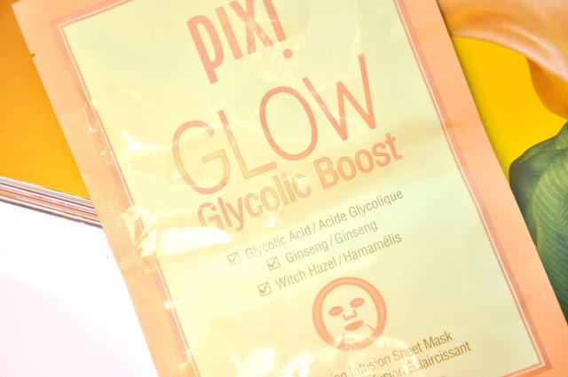 maska w płacie pixi glow glycolic boost