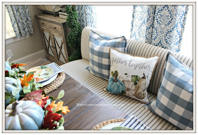 Fall- Pillows-Blue & White -Buffalo -Check- Banquette-Seating-Cottage-Farmhouse-Style-Ticking-Stripe-From My Front Porch To Yours