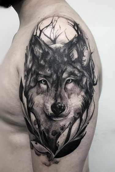 Shoulder Wolf Tattoos