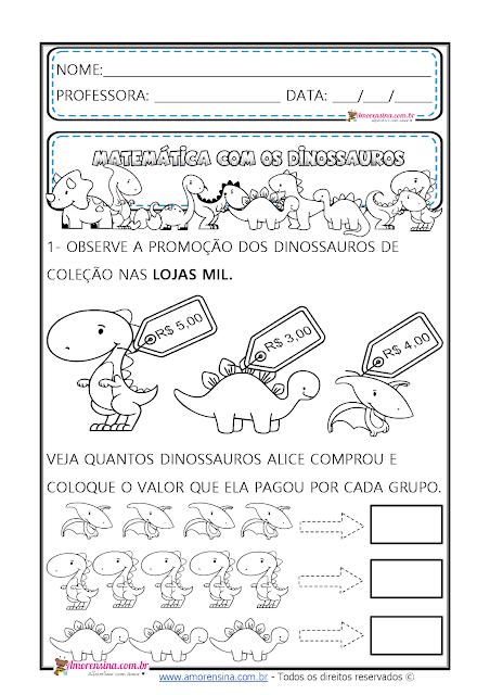 atividades sistema monetário, atividades com gráfico, alfabetização matemática