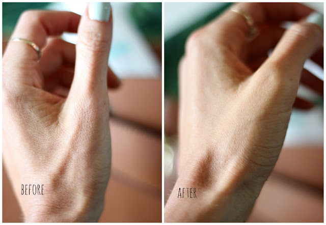 Left: Before applying Dermalogica Hydrablur Primer. Right: After one application of Dermalogica Hydrablur Primer. No photoshop/editing was done to this photo. Totally smoothens the look of fine line and wrinkles!