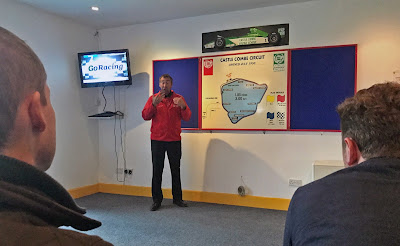 ARDS instructor briefing us on the lines and braking points of Castle Combe Circuit