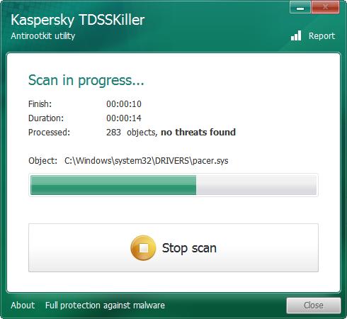 Análisis en curso de TDSSKiller