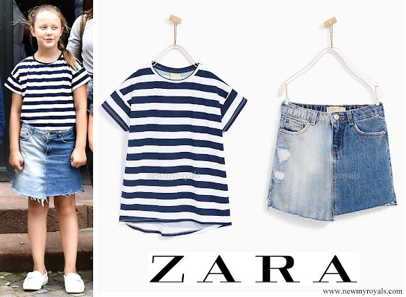 Princess Isabella wore ZARA T-Shirt and Denim Skirt