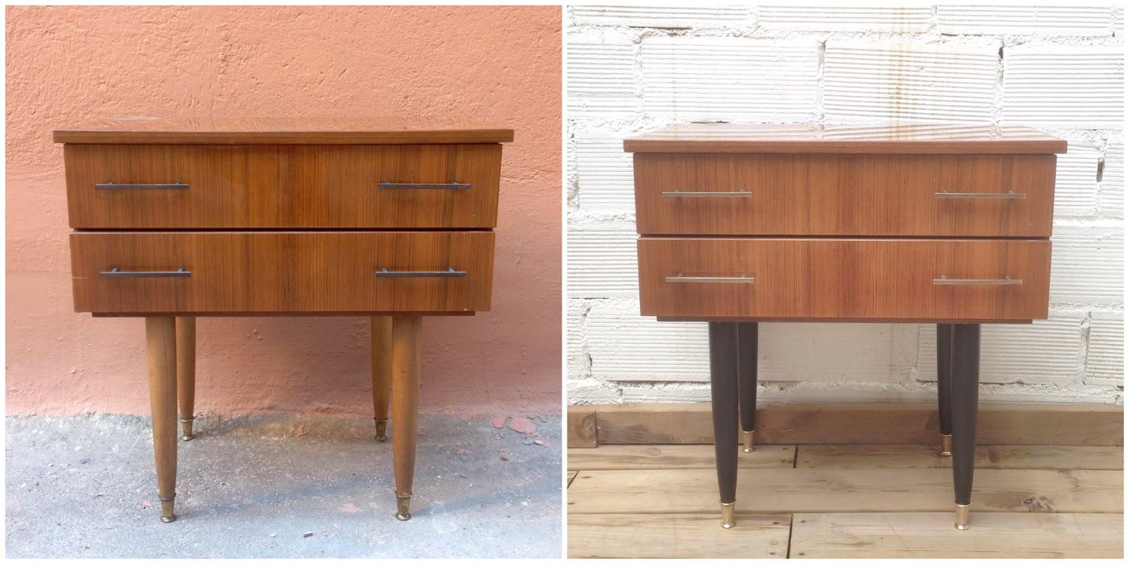 Antes y después - mesita de noche restaurada y pintada - Studio Alis