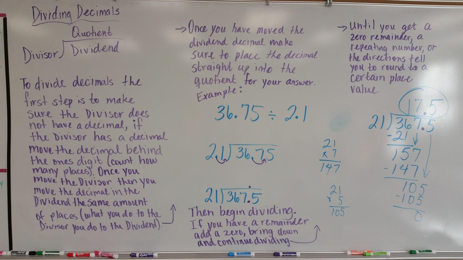 Mrs  Negron 6th Grade Math Class: Notes & examples for dividing decimals