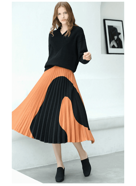 Amii Women Minimalist 2018 Autumn Skirt Chic A-Line Elegant Pleated Geometric Contrast Color Female Skirts
