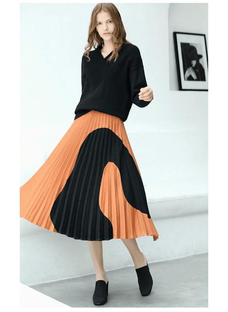 Amii Women Minimalist 2018 Autumn Skirt Chic A-Line Elegant Pleated Geometric Contrast Color Female Skirts