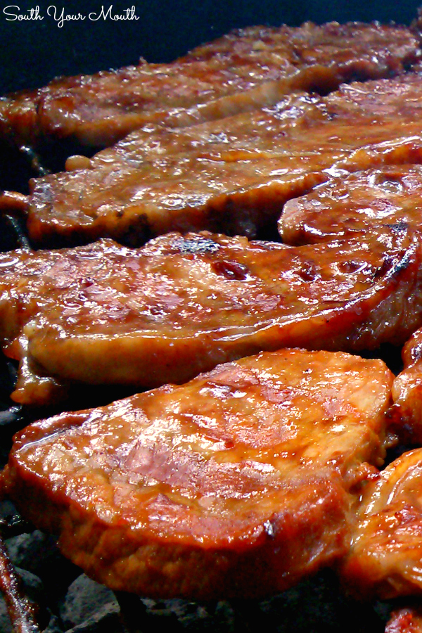 Barbequed Steaks | Thinly sliced steaks marinated in homemade barbeque sauce then grilled to smoky perfection - the perfect way to serve steak without breaking the bank!