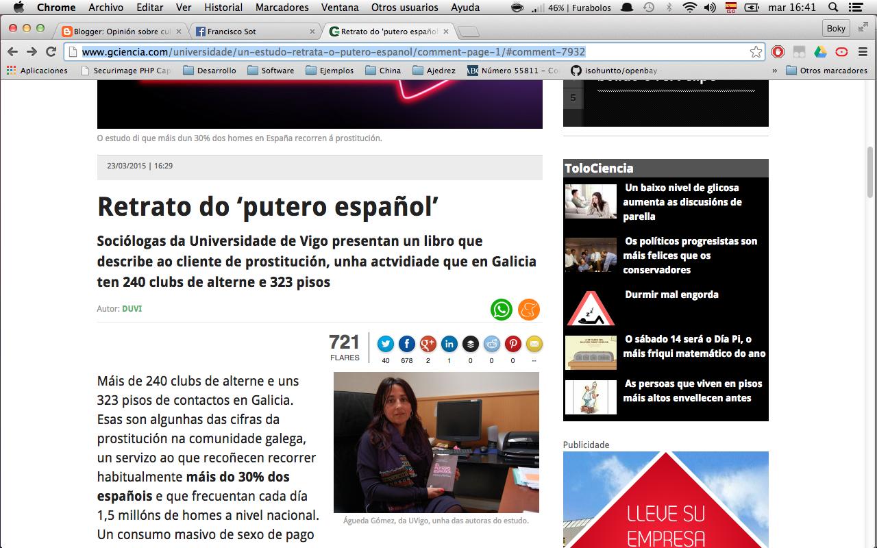 """Articulo publicado en GCIENCIA sobre el """"putero español"""""""