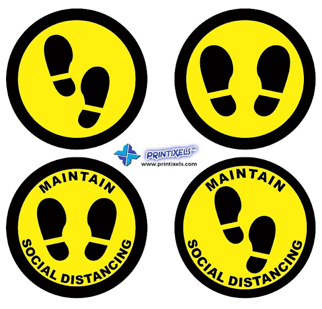 Maintain Social Distancing Floor Stickers