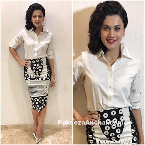 Tapsee Pannu in Unique print Skirt Style white Shirt