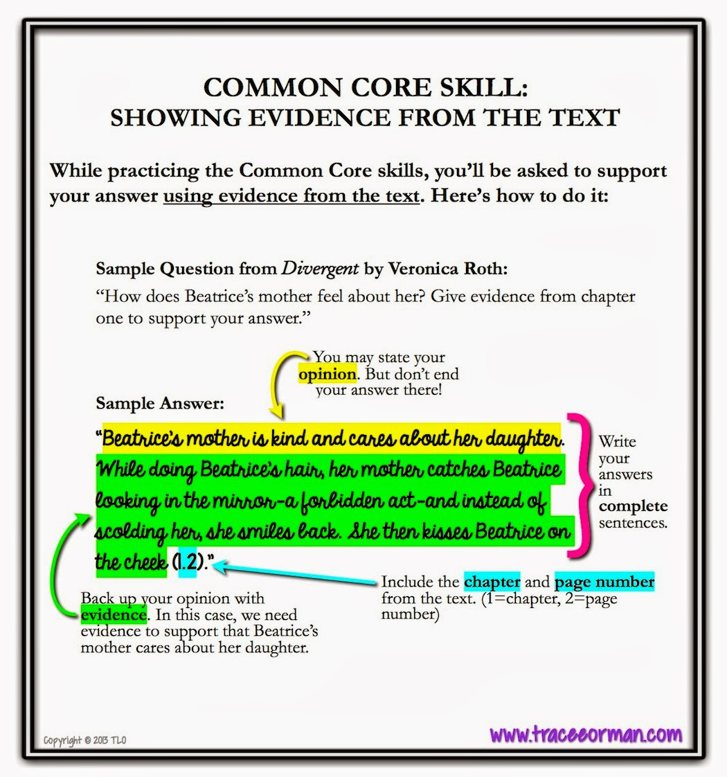 Mrs Orman S Classroom Common Core Skill Show Evidence From The Text