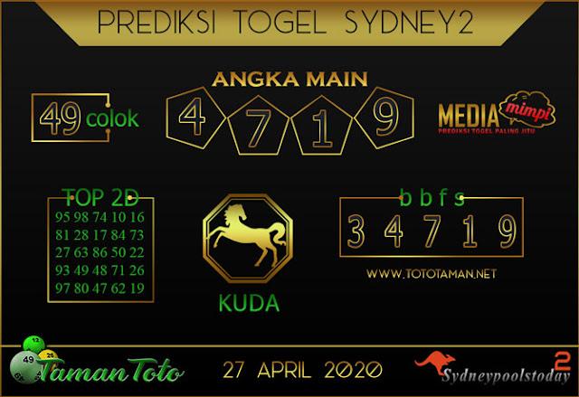 Prediksi Togel SYDNEY 2 TAMAN TOTO 27 APRIL 2020