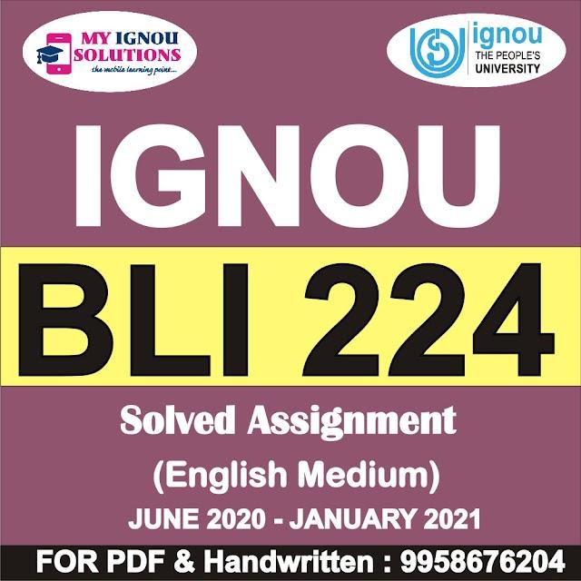 BLI 224 Solved Assignment 2020-21