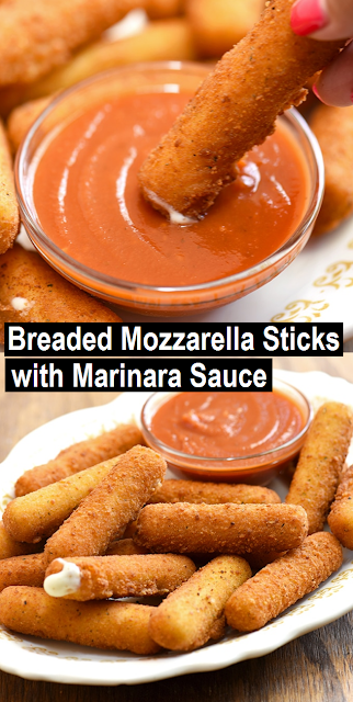 Homemade Mozzarella Sticks with marinara sauce are perfect for a party or game day. Gooey and melty on the inside and golden and crunchy on the outside, they're absolutely addicting! #appetizers #appetizersrecipe #mozzarella #homemade #snack
