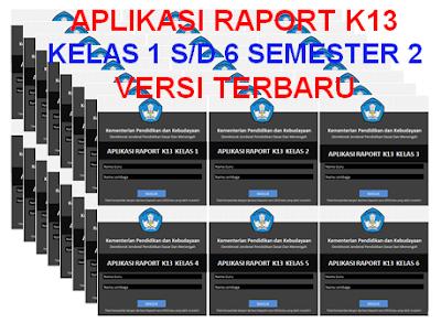 Aplikasi Raport K13 Kelas 1, 2, 3, 4, 5, 6 Semester 2
