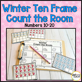 Winter Ten Frame Count Around the Room, www.JustTeachy.com