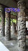 4 tiang pilar ukir batu alam motif pemandangan, burung dan ikan laut