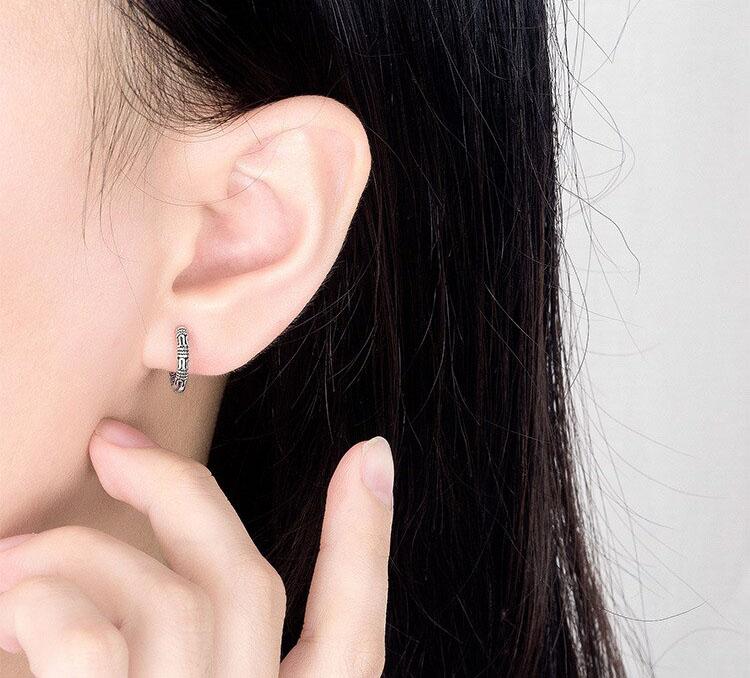 復古民族風圖騰鍍銀耳環