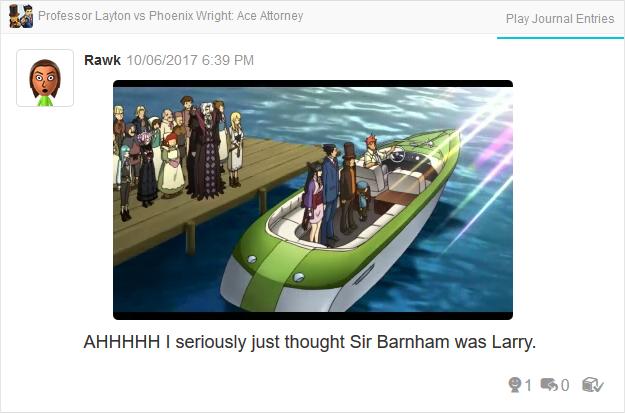 Professor Layton vs. Phoenix Wright Ace Attorney Sir Barnham Larry Butz boat