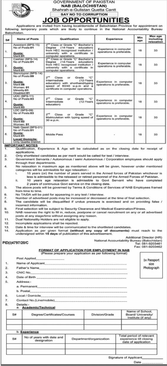 Latest NAB Jobs | National Accountability Bureau Jobs| Latest Jobs |Pakistan Jobs